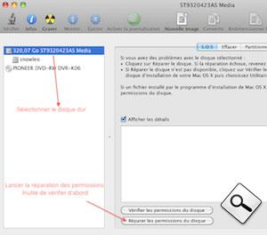 Réparation des permissions sur OSX