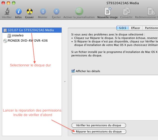 comment reparer disque mac os x